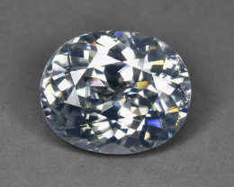 10.70 CTS GORGEOUS RARE NATURAL WHITE ZIRCON OVAL ATTRACTIVE~