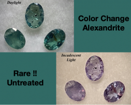 Rare!! Alexandrite  Non Treated 0.66ct tw Parcel Lot Natural - 3 pcs