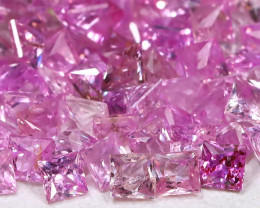 6.23Ct Princess 1.90mm Natural Untreated Pink Color Sapphire Lot B7956