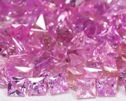 10.39Ct Princess 1.90mm Natural Untreated Pink Color Sapphire Lot B8081