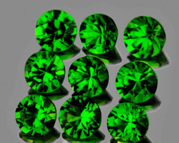 3.00 mm Round 9 pcs 1.22cts Chrome Green Diopside [VVS]