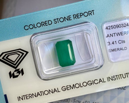 3.41ct Colombian Emerald IGI Certified Emerald Octagon Cut Loose Gem