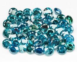 8.09 Cts 54pcs Round 3.3 mm Sparkling Fancy  Blue Color Natural Loose Diamo