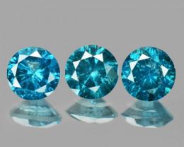 0.62 Cts 3pcs 3.6 mm Sparkling Rare Fancy  Blue Color Natural Loose Diamond