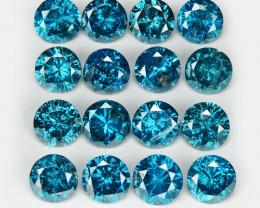 *No Reserve*3.01 Cts 16pcs Sparkling Fancy  Blue Color Natural Diamond