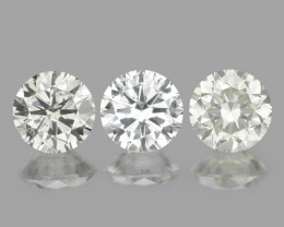 *No Reserve* 0.78 Cts 3pcs 4mm RD Untreated Fancy White Color Natural