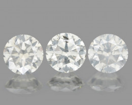 0.56 Cts 3PCS 3.5mm RD Untreated Fancy White Color Natural Loose Diamond