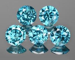 0.98 Cts 5pcs 3.6mm Rd Sparkling Fancy  Blue Color Natural Loose Diamond