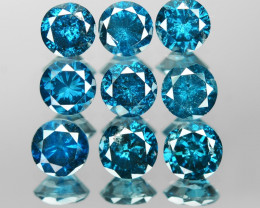 *NoReserve*Blue Diamond 1.69 Cts 9pcs 3.6mm Rd Blue Color Natural