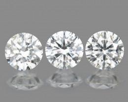 0.31 Cts 3pcs 3.0 mm Rd Untreated Fancy White Color Natural Loose Diamond