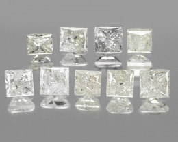 1.05 Cts 9pcs Princess Untreated Fancy White Color Natural Loose Diamond