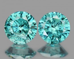 0.38 Cts 2pcs 3.6mm Rd  Sparkling Fancy  Blue Color Natural Loose Diamond