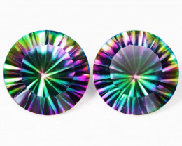 8.40 Cts  Paired Rare Fancy Rainbow Colors Natural Mystic Topaz