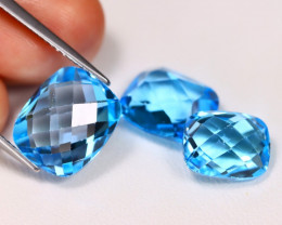 Swiss Topaz 15.08Ct 3Pcs Pixalated Cut Natural Swiss Blue Topaz Lot C0803