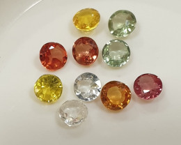 Yellow Orange Green Multi Sapphire Lot Round Brilliant Cut 3mm(SKU 60)