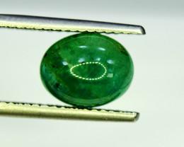 Emerald, 5.10 Carats Oval Natural Zambian Emerald Cabochon