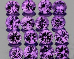 2.30 mm Round 16 pcs 0.98ct Pinkish Purple Sapphire [VVS}
