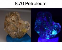 Rare 8.70 ct Natural Ancient Fluorescent Quartz With Ancient Petrolium
