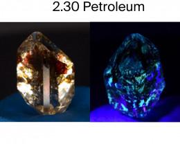 Rare 2.30 ct Natural Ancient Fluorescent Quartz With Ancient Petrolium