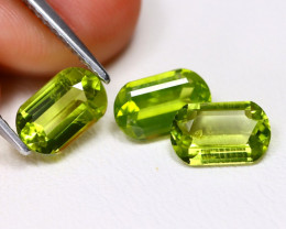Peridot 3.09Ct 3Pcs Octagon Cut Natural Neon Green Color Peridot C0911