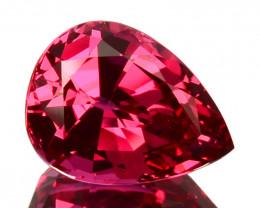 ~COLLECTIBLE~ 4.31 Cts Natural Spinel Hot Reddish Pink Pear Cut Mahenge Tan
