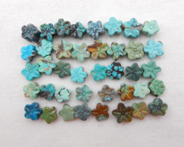59.5cts Lucky Turquoise ,Handmade Gemstone ,Turquoise Flower Cabochons ,Luc