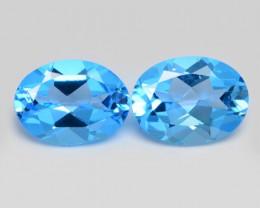 3.00 Carat 2 Pcs Blue Natural Topaz Gemstone