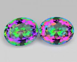 4.83 Cts 2 Pcs Rare Fancy Multi  Color  Natural Mystic Topaz