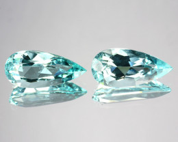 ~PAIR~ 4.15 Cts Natural Copper Bearing Paraiba Tourmaline 2Pcs Pear Mozambi