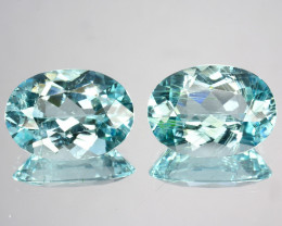 ~PAIR~ 5.15 Cts Natural Copper Bearing Paraiba Tourmaline Pair Oval Mozambi