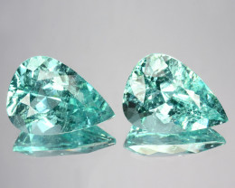~PAIR~ 9.93 Cts Natural Copper Bearing Paraiba Tourmaline Pair Pear Mozambi