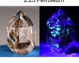Rare 2.25 ct Natural Ancient Fluorescent Quartz With Ancient Petrolium