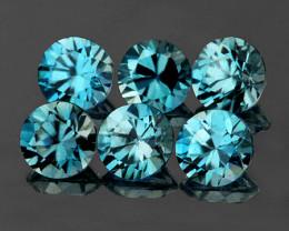 4.00 mm Round 6 pcs 2.17cts Blue Zircon [VVS]