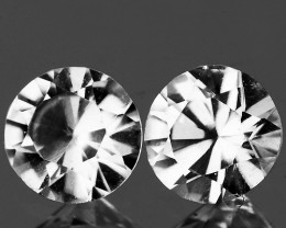 4.50 mm Round 2 pcs 1.10cts White Zircon [VVS}