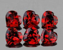 5.00 mm Heart 6 pcs 3.02cts Dark Red Garnet [VVS]