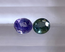 0.95ct unheated purple and green sapphire