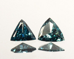 Fabulous!!!  0.13 Cts Natural Diamond Greenish Blue 2Pcs Trillion 3mm Afric