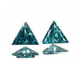Lustrous!!!  0.18 Cts Natural Diamond Greenish Blue 2Pcs Trillion 3mm  Afri
