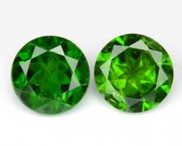 1.74 Cts 2 Pcs Natural Green Color Chrome Diopside Loose Gemstone