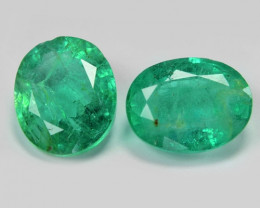 2.96 Cts 2 Pcs Natural Vivid Green Zambian Emerald Loose Gemstone