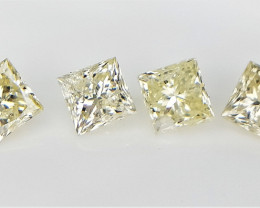 4 pcs/0.60 CT , Princess Brilliant Cut , Natural Yellow Diamonds