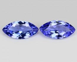 1.05  Cts 2pcs Amazing rare AA+ Violet Blue Color Natural Tanzanite Gemston