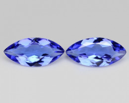 0.89 Cts 2pcs Amazing rare Violet Blue Color Natural Tanzanite Gemstone
