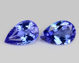 0.89 Cts 2pcs Amazing rare AAA Violet Blue Color Natural Tanzanite Gemstone