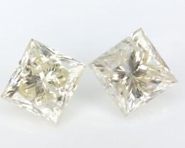 2 Diamonds , Princess Brilliant cut , Natural Color Diamonds ,0.51 cts