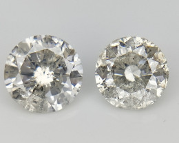 2/0.63 CT , Natural Round Diamonds , Light Colored Diamonds