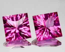 ~Matching pair~ 5.77 Cts Candy Pink Natural Topaz 8mm Square Concave Brazil