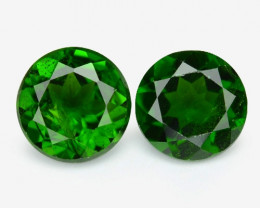 1.77 Cts 2 Pcs Natural Green Color Chrome Diopside Loose Gemstone