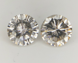 2/0.48 cts , Salt And Pepper Diamond Pairs , Natural Diamonds