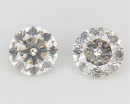 2/0.29 CT , Round Brilliant Cut , Natural Light Colored Diamonds